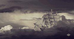 bateau sortant des nuages